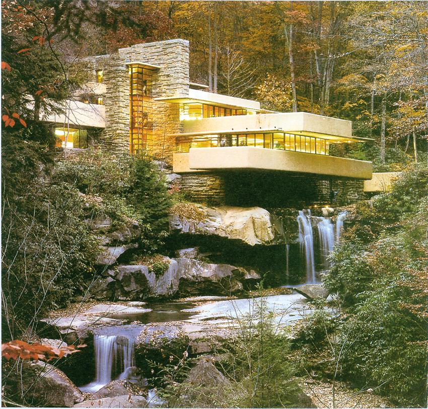 Frank lloyd wright casa kaufmann detta casa sulla for Architettura wright